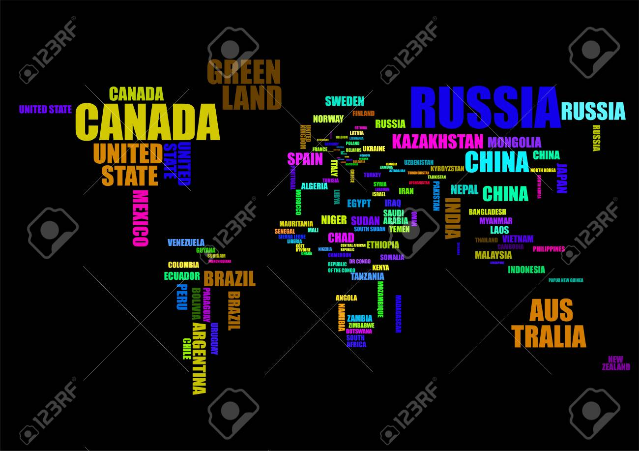 Typography colorful world map with country names vector royalty typography colorful world map with country names vector stock vector 96877828 gumiabroncs Image collections