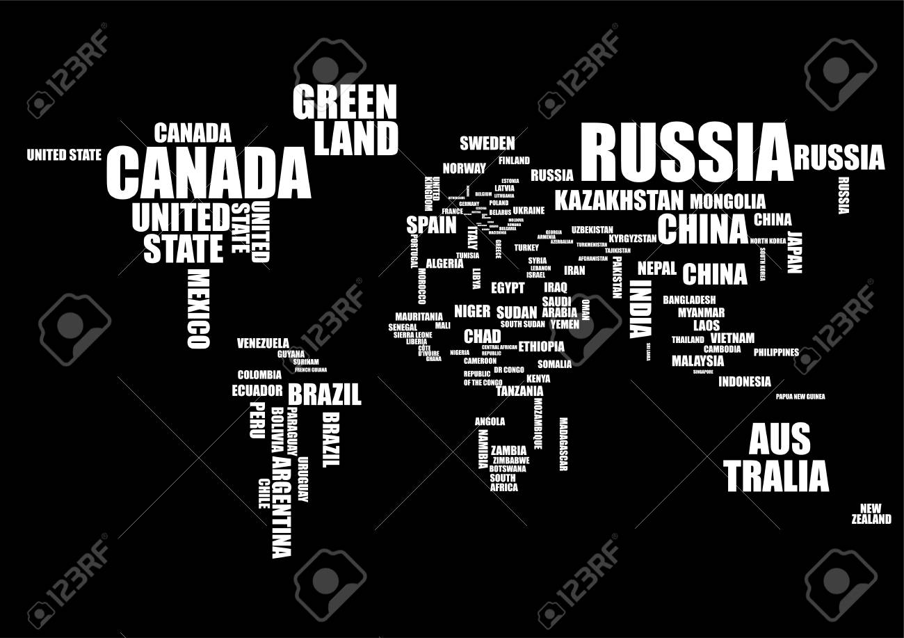 Typography world map with country names in black and white vector typography world map with country names in black and white vector illustration stock vector gumiabroncs Choice Image