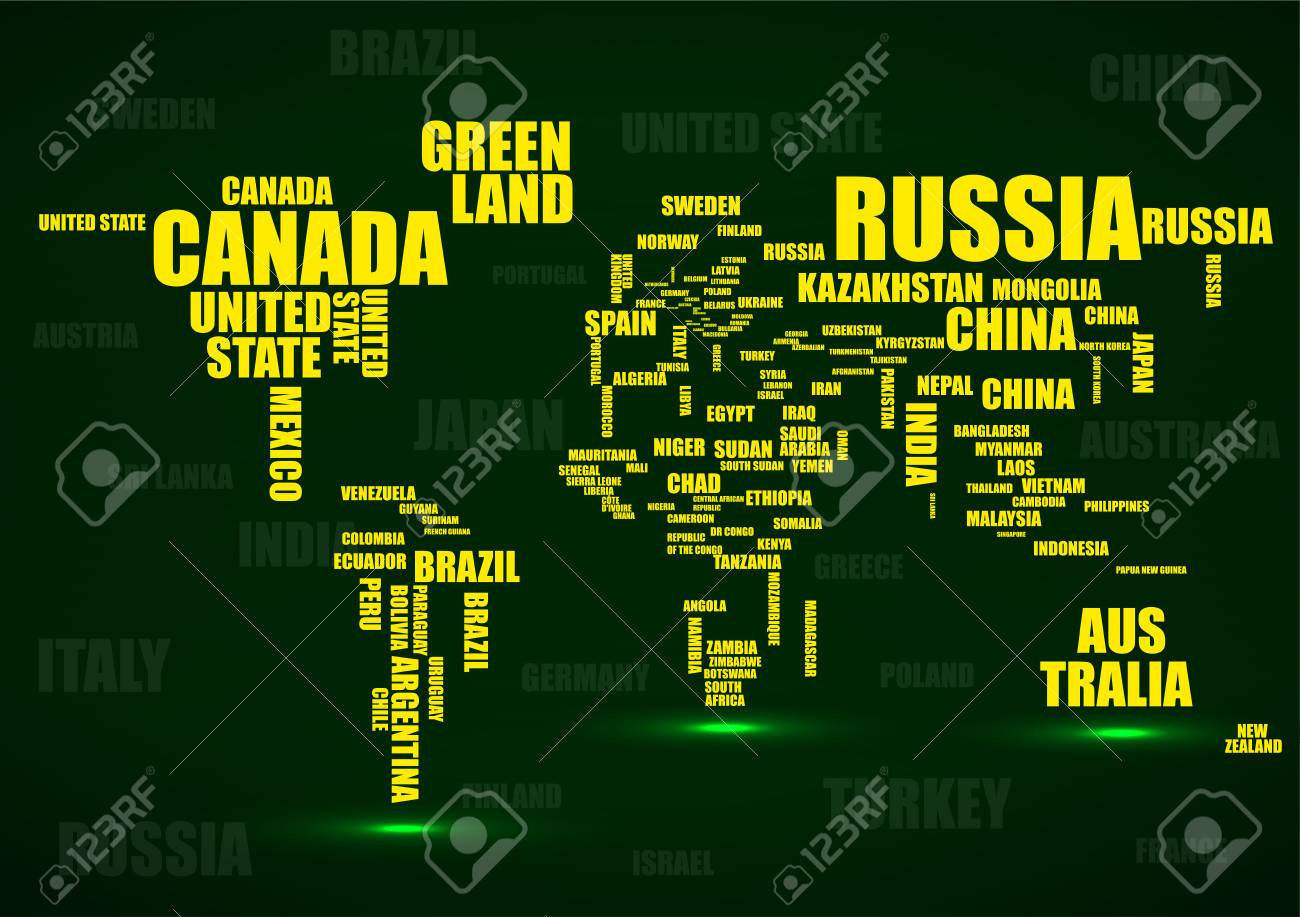 Typography colorful world map made of names countries vector typography colorful world map made of names countries vector stock vector 97332387 gumiabroncs Image collections