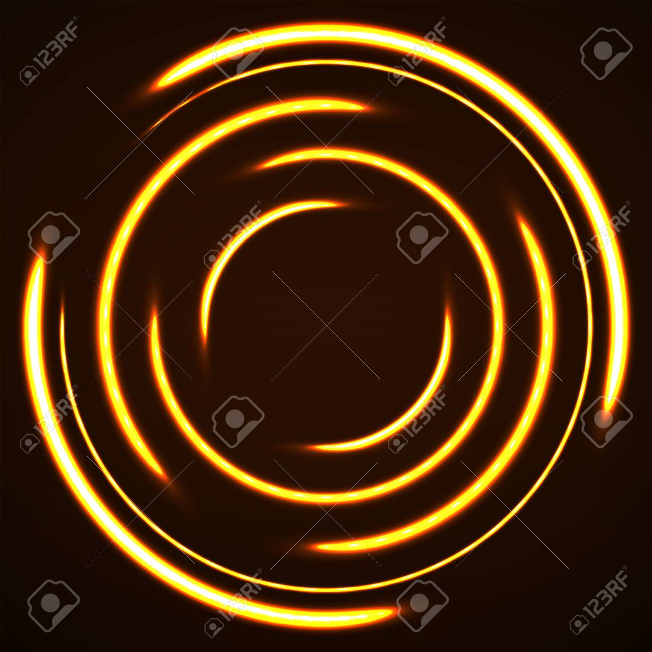 Abstract background of glowing circles  Neon logo  Vector