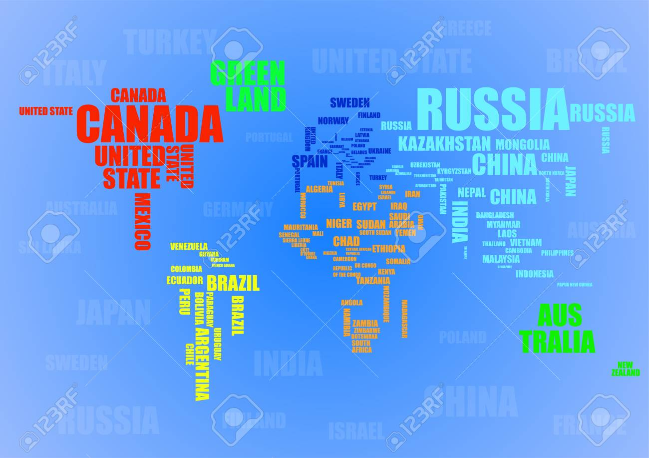 Typography colorful world map with country names vector typography colorful world map with country names vector illustration stock vector 97622577 gumiabroncs Image collections