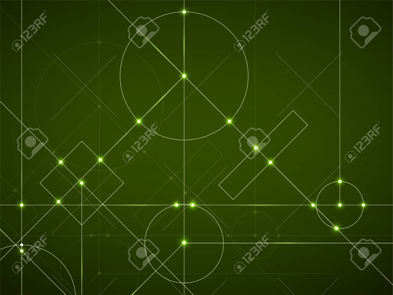 Abstract Neon Background Of Engineering Drawing Technological