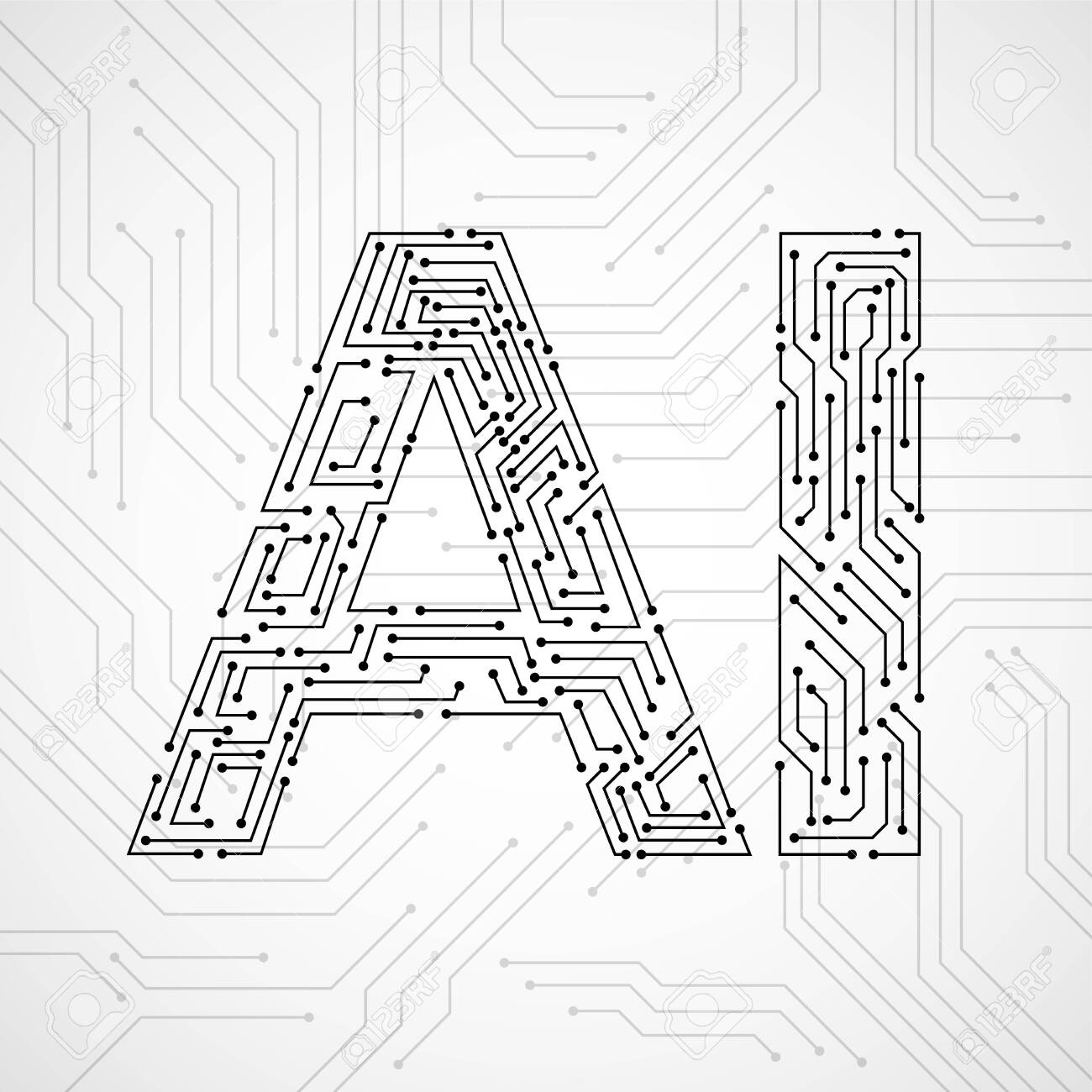 Artificial Intelligence with circuit board isolated on white background. Abstract technology concept. Vector illustration - 135623080