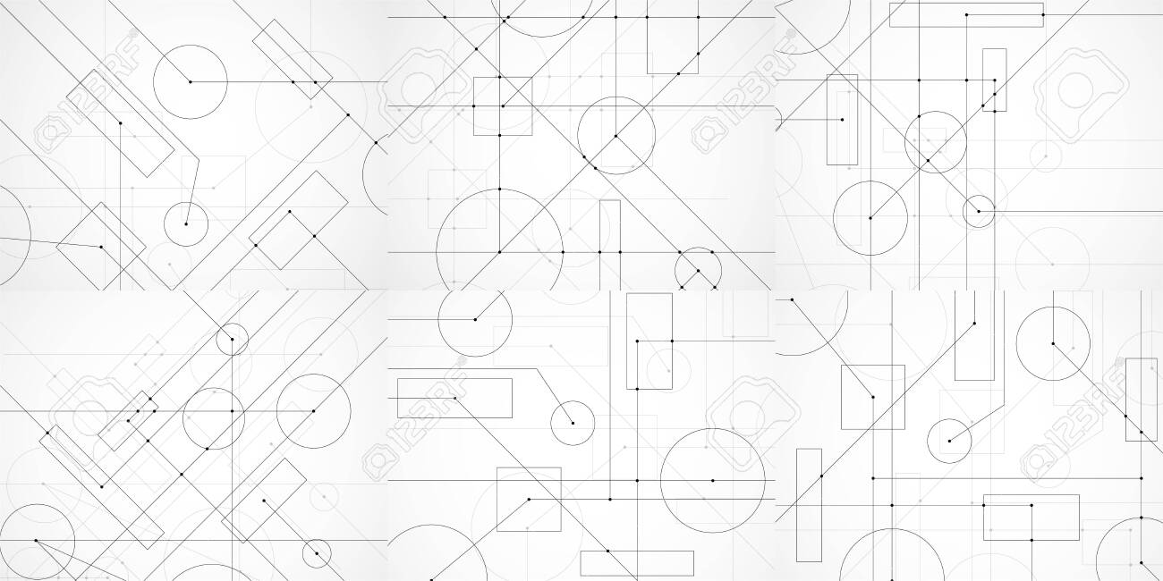 Set of abstract backgrounds with engineering drawing. Technological wallpaper made with circles and lines. Geometric design. Vector Illustration - 139061582