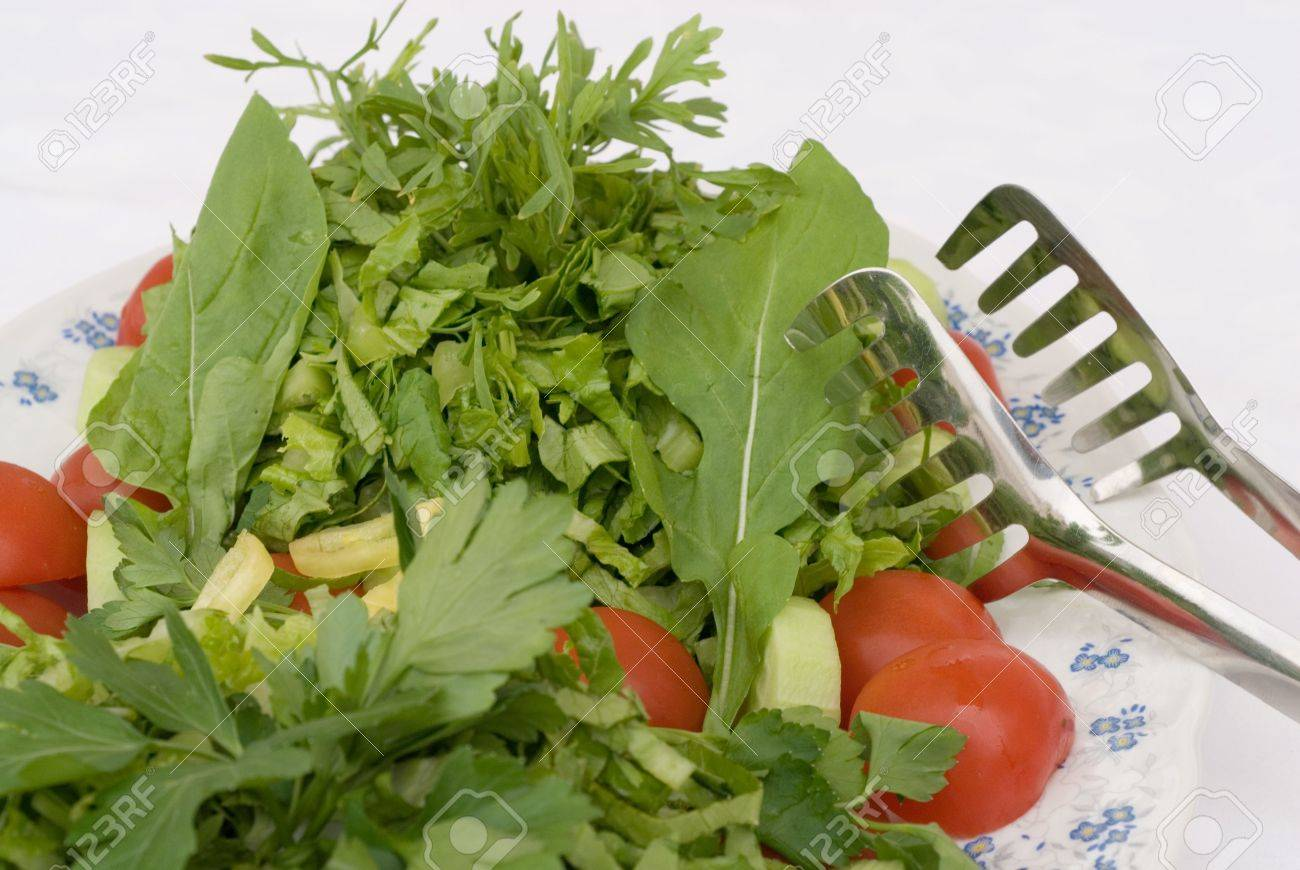 Spicy Salad With Tomato Lettuce Rocket And Cress Stock Photo 2946225