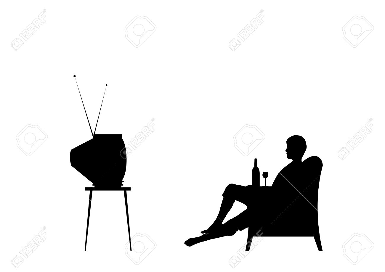 Man is watching tv. Isolated on the white background. - 5787400