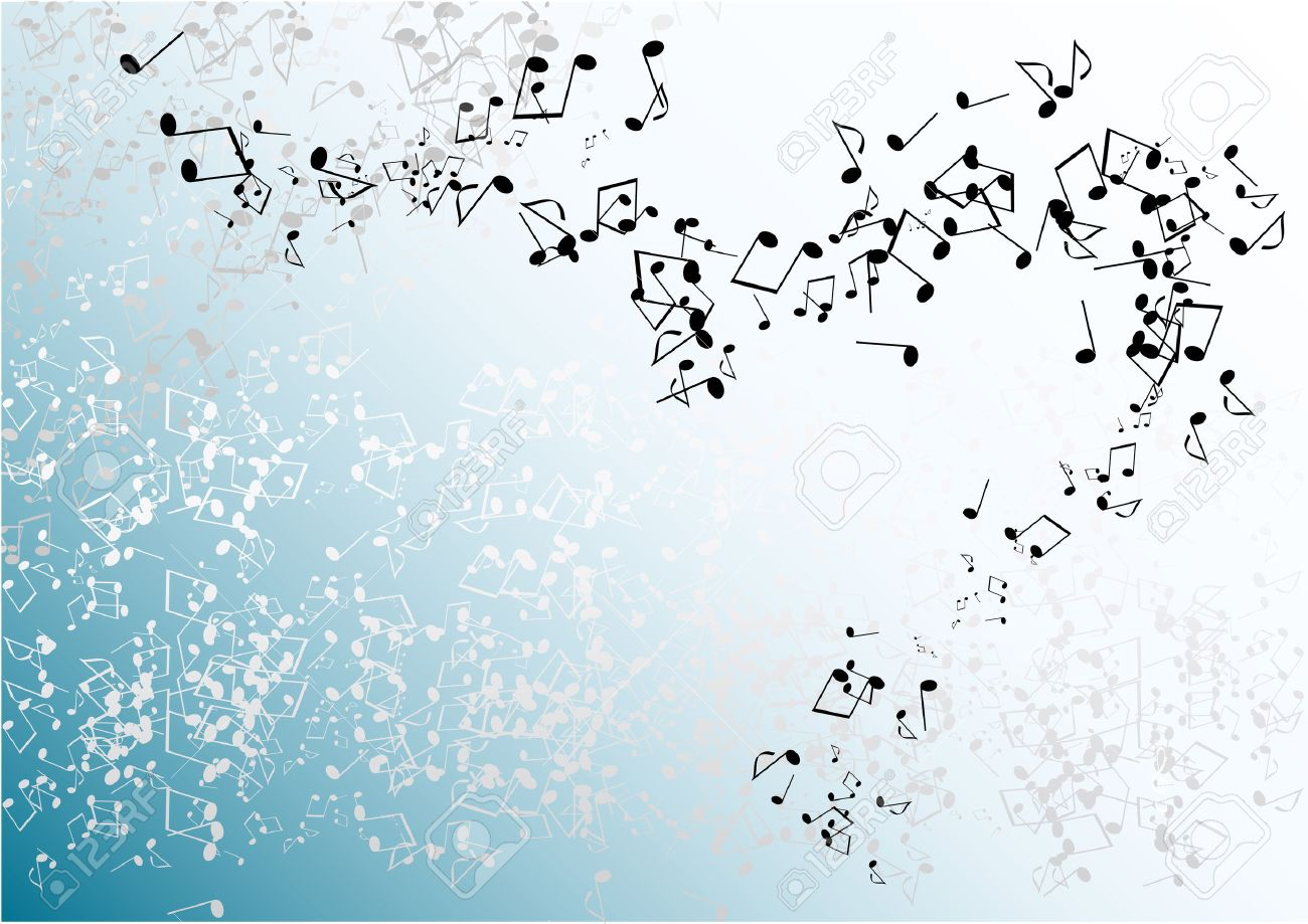 Blue Music Background With Notes Royalty Free Cliparts, Vectors ...