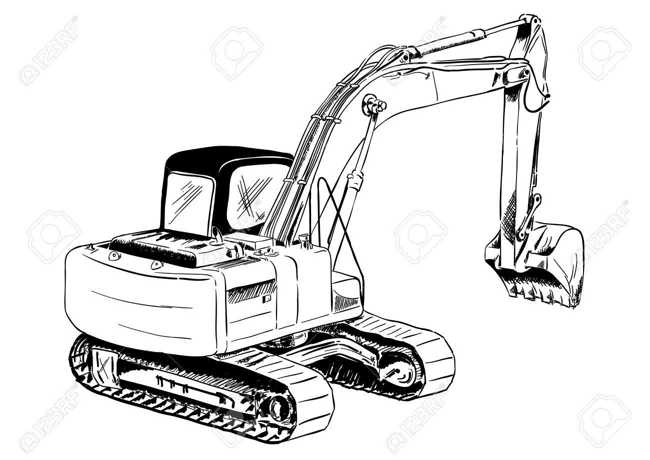 black sketch of big excavator Stock Vector - 7464313