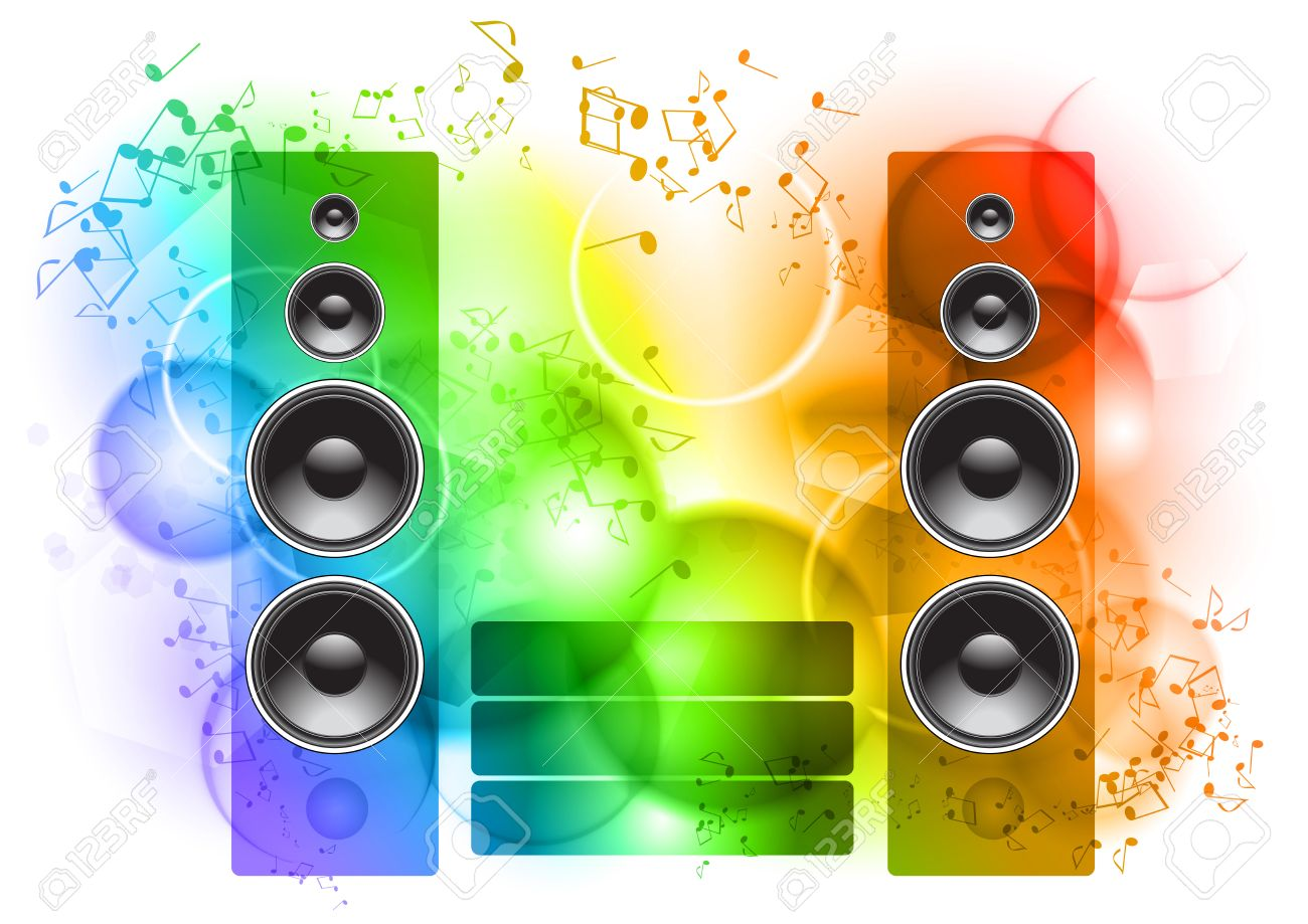Music abstract background with speakers Stock Vector - 8911962