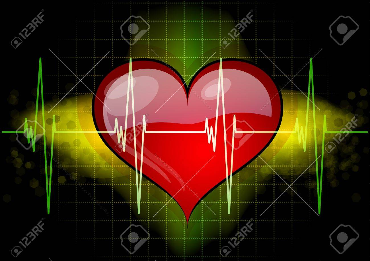 Heart with ekd line on the black Stock Vector - 9113358