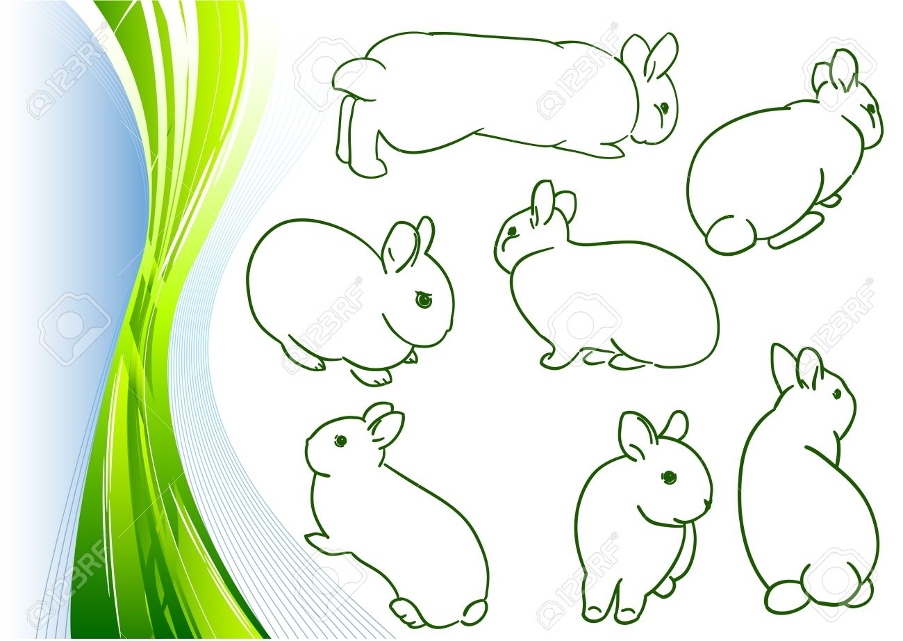 simple sketches of small bunny royalty free cliparts vectors and