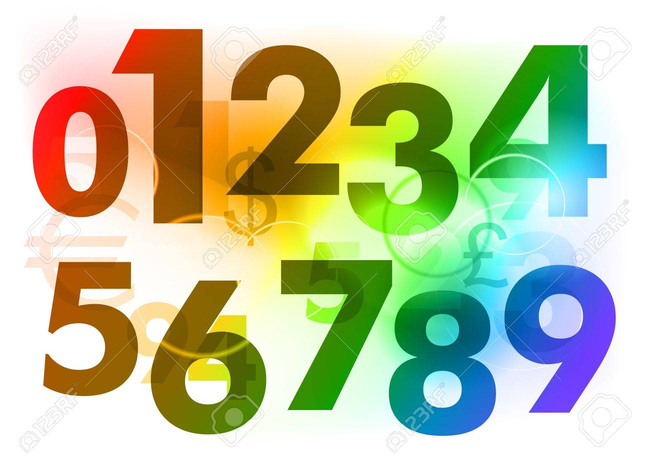 Rainbow Color Numbers On The Background Royalty Free Cliparts ...