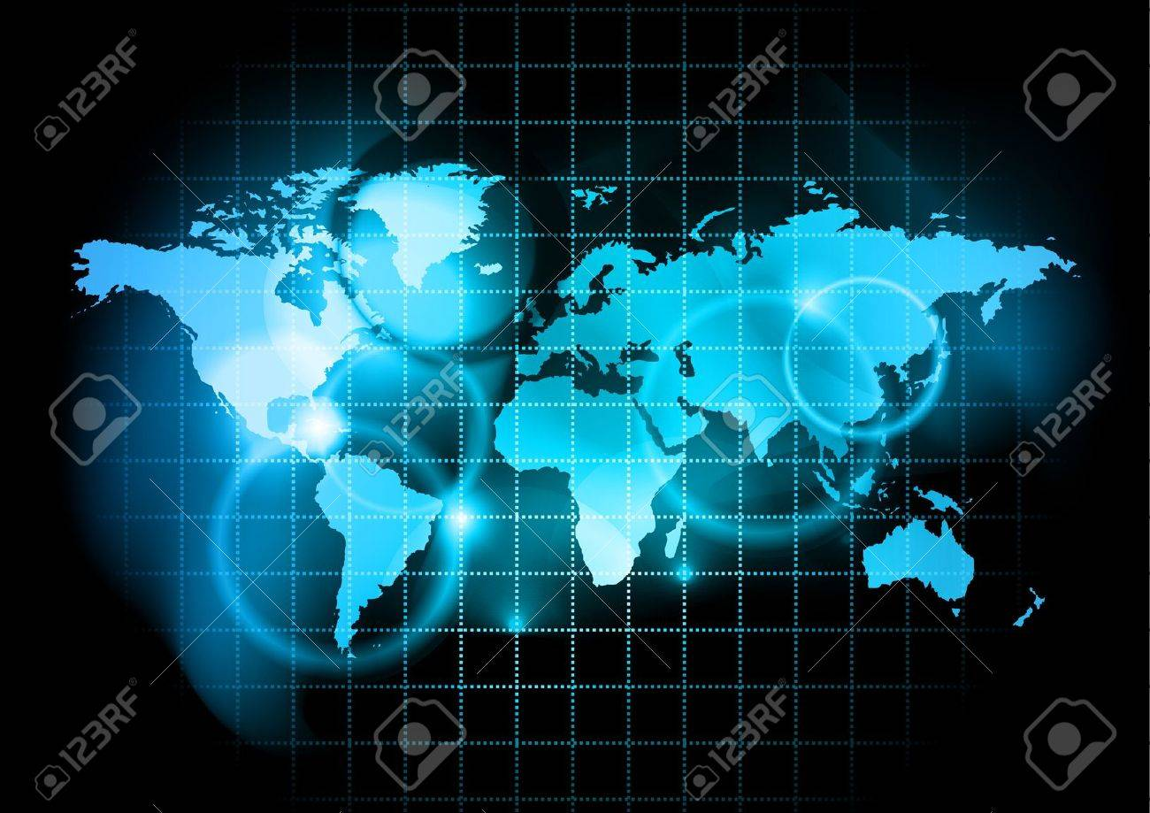 blue map of the world Stock Vector - 9490382