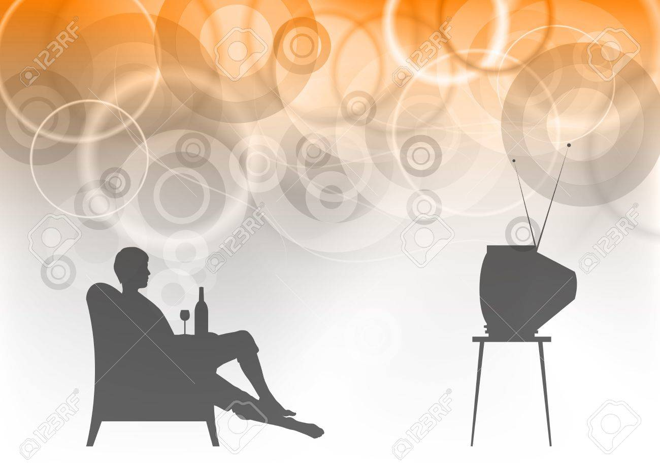 watching tv on the background Stock Vector - 9573418