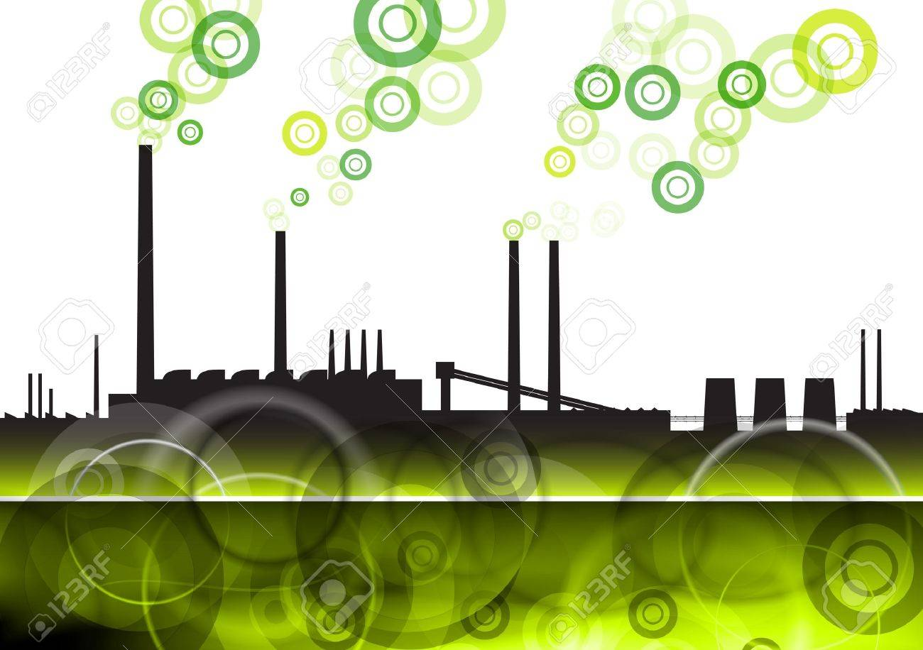 green factory with eco smoke Stock Vector - 9713605