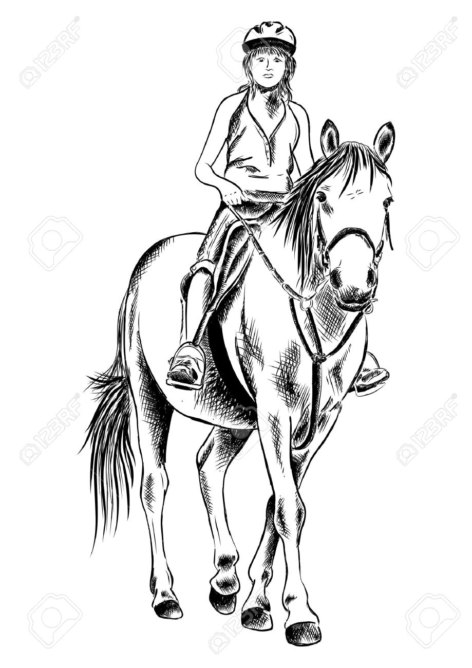 Young Girl On The Horse Royalty Free Cliparts Vectors And Stock
