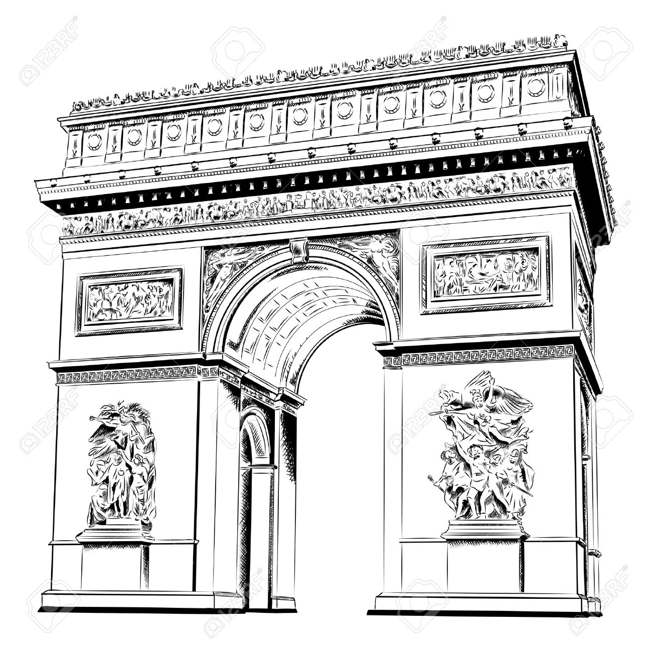 Arch of Triumph isolated on the white Stock Vector - 10282113