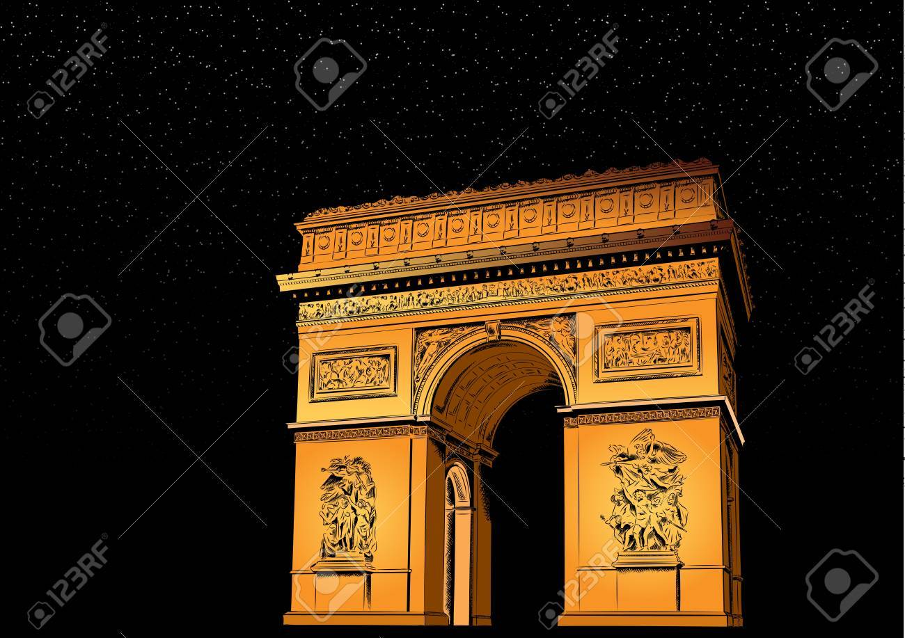 Arch of Triumph at night Stock Vector - 10488219
