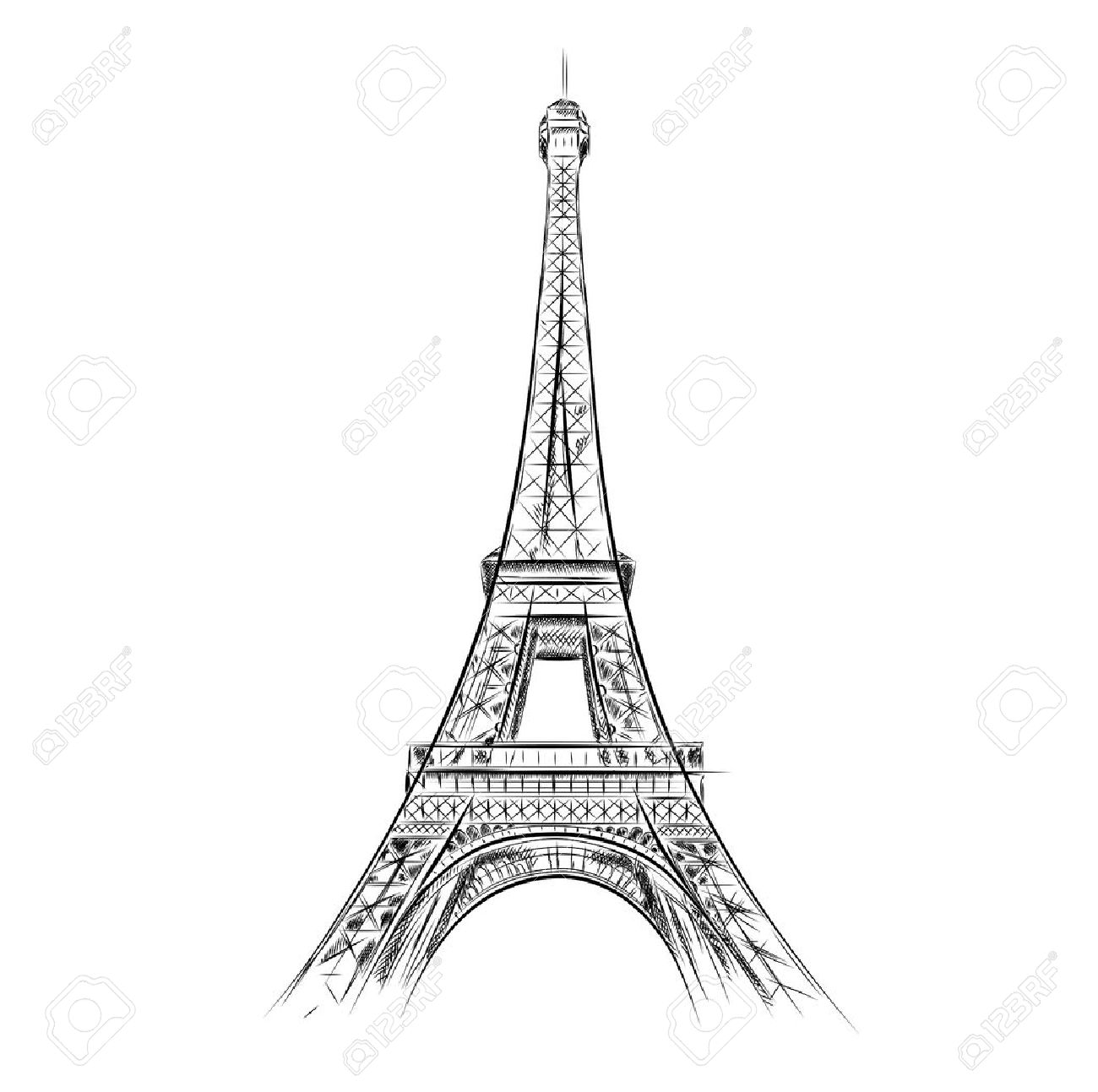 eiffel tower on the white Stock Vector - 10716029