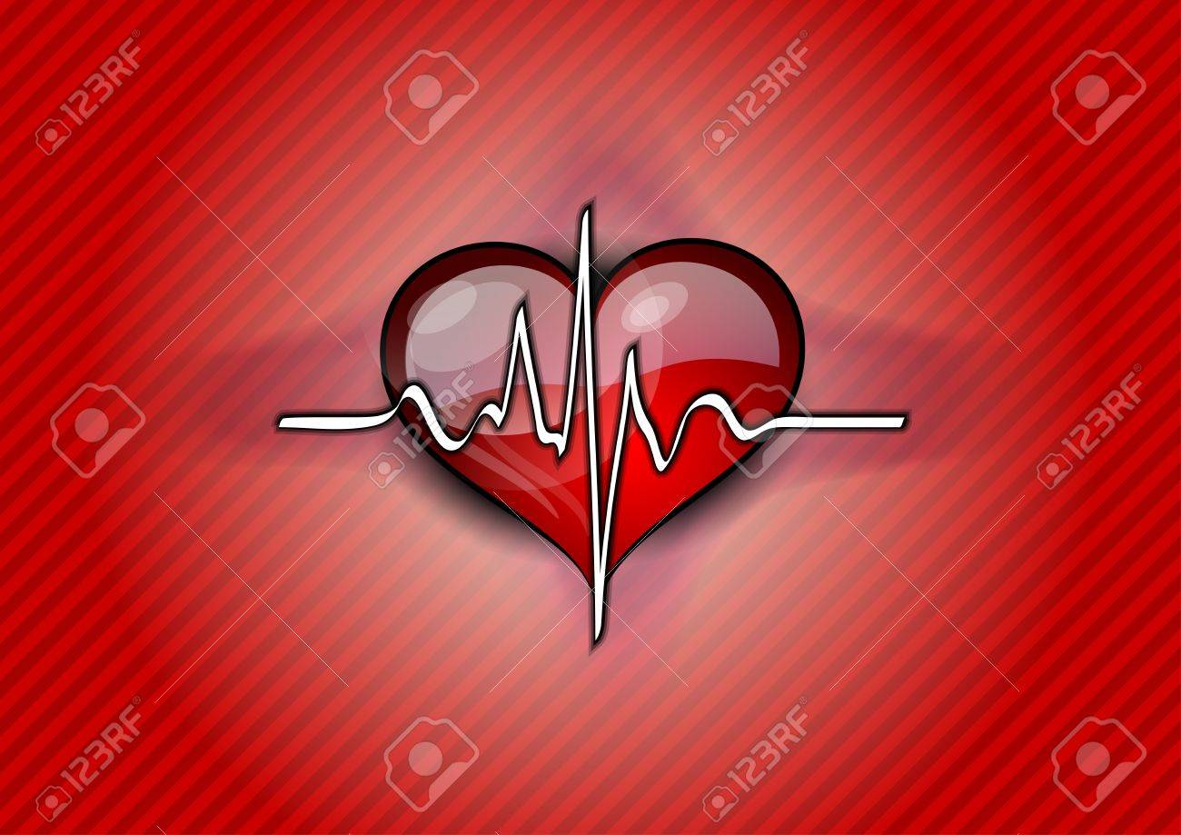 red heart with pulse rhythm Stock Vector - 12308446
