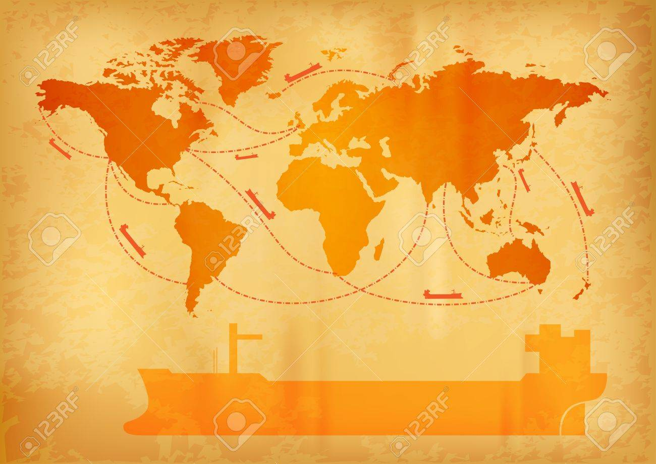 Ship transportation on the old world map royalty free cliparts ship transportation on the old world map stock vector 13126208 gumiabroncs Choice Image
