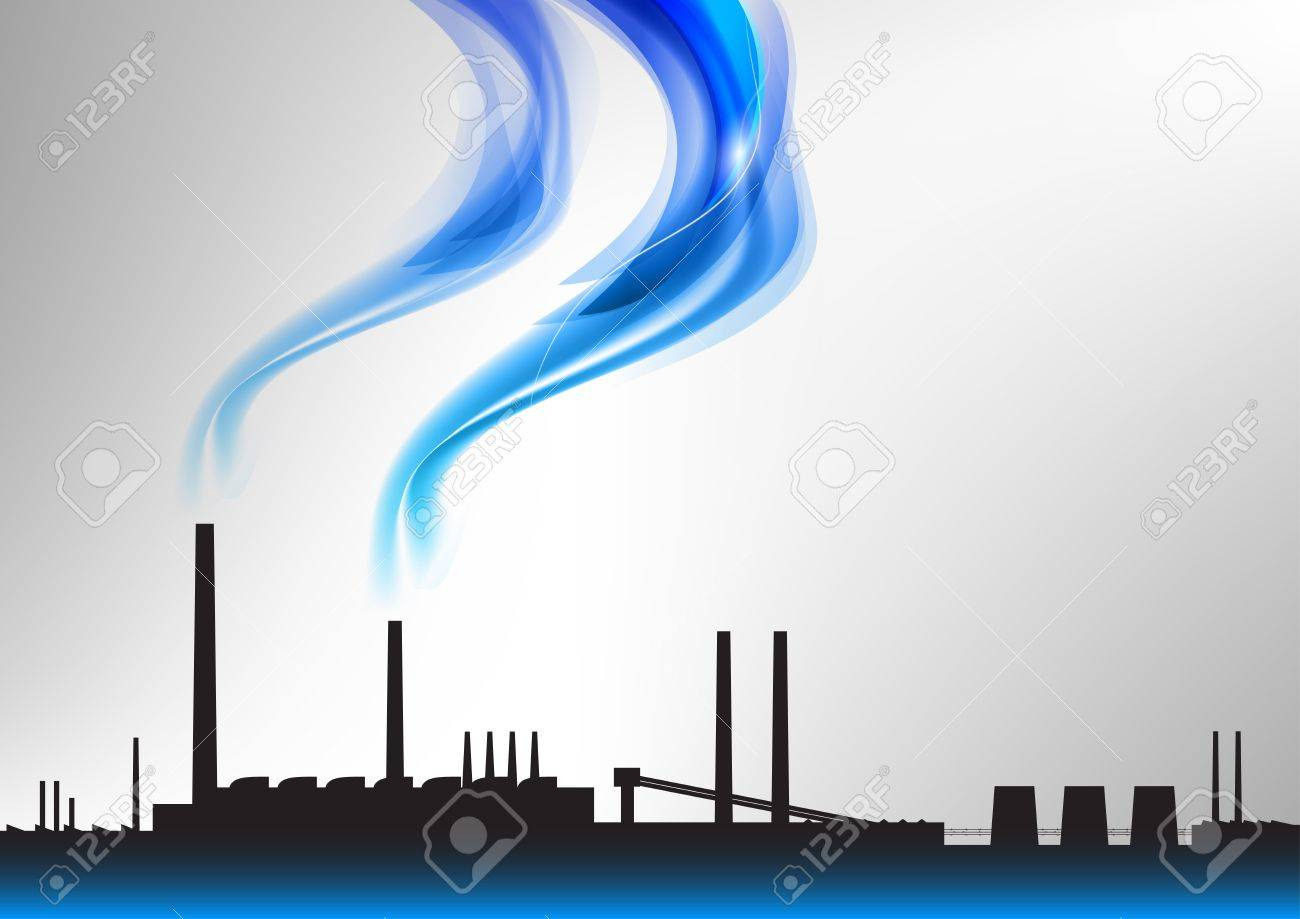 factory with the blue smoke Stock Vector - 13516431