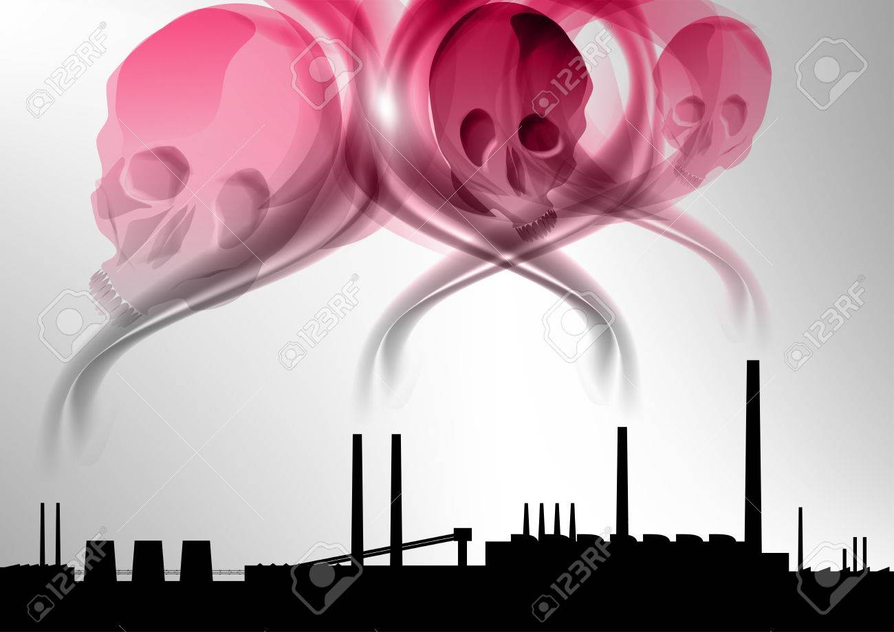 black silhouette of factory under the red death Stock Vector - 13830015