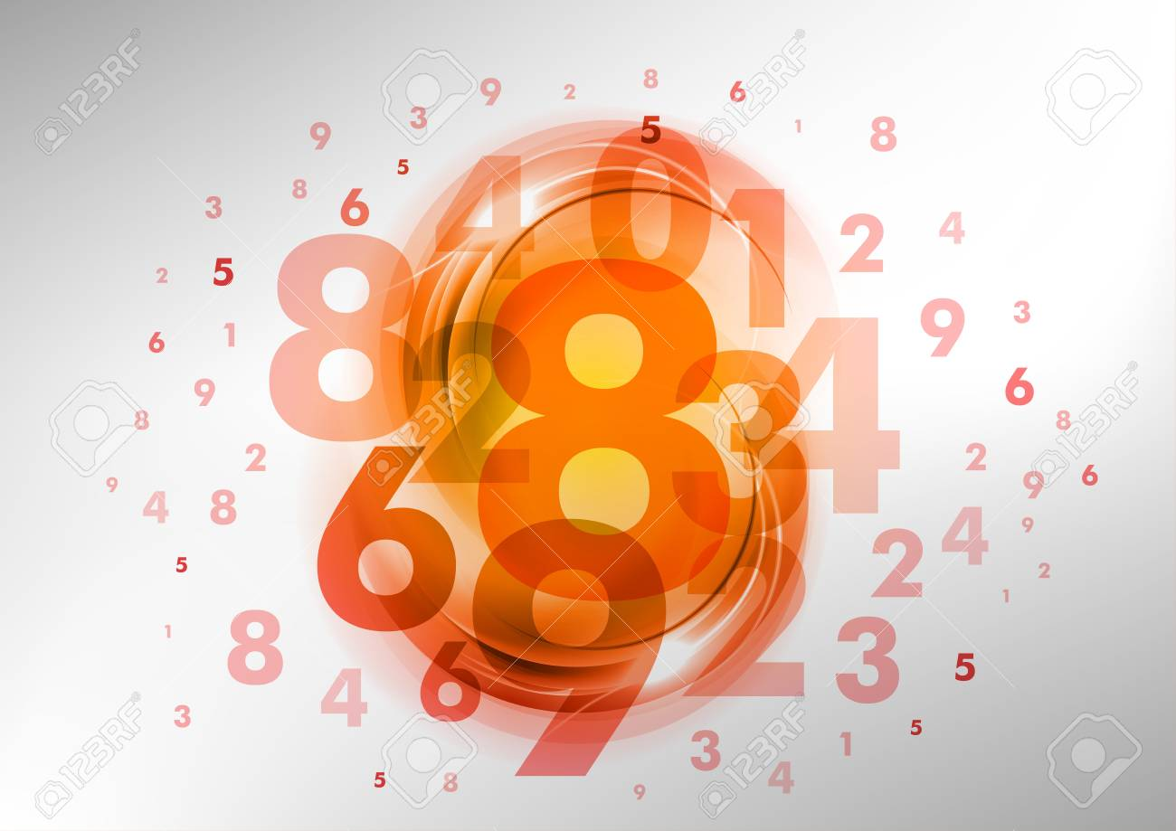 abstract background with red and orange numbers Stock Vector - 19286123