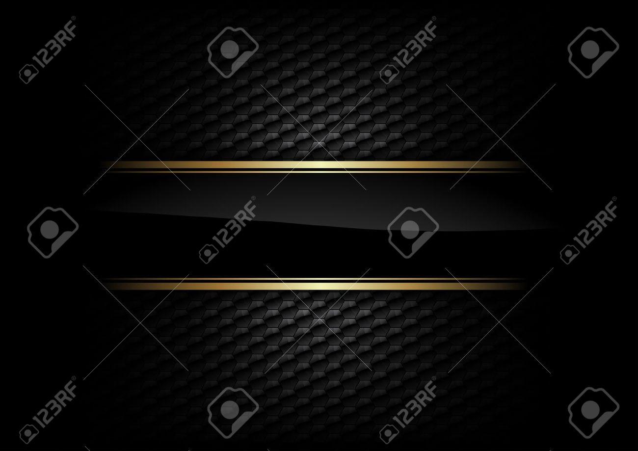 black stripe with gold border on the dark background - 19983887