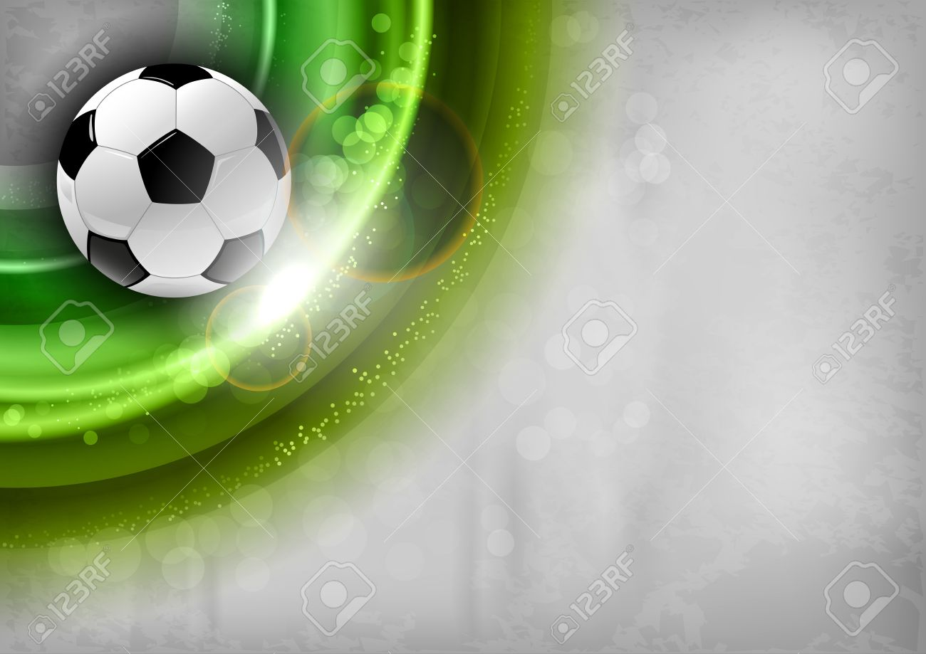 football on the green abstract shape - 21074957