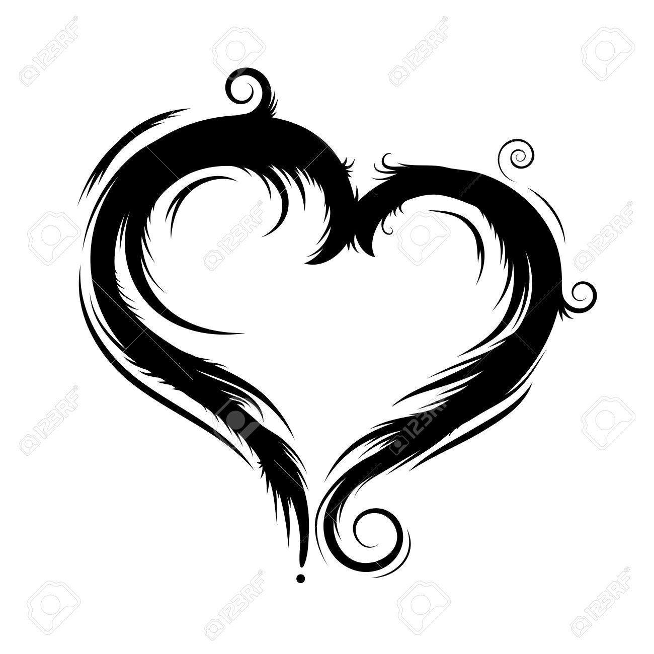Image Coeur Noir Et Blanc vecteur coeur noir isolé sur le blanc clip art libres de droits