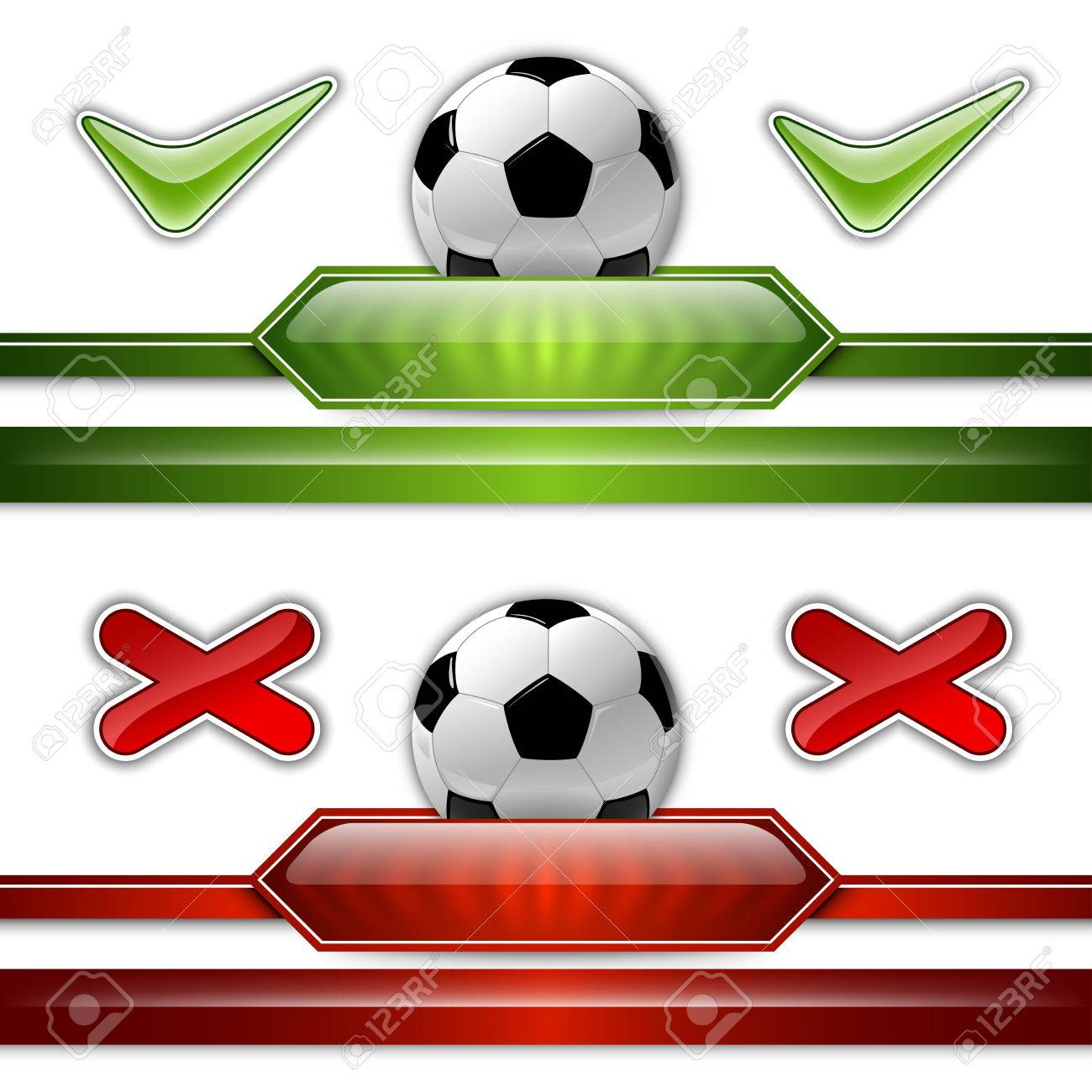 Soccer symbol. Football with green button for score information. - 27144021