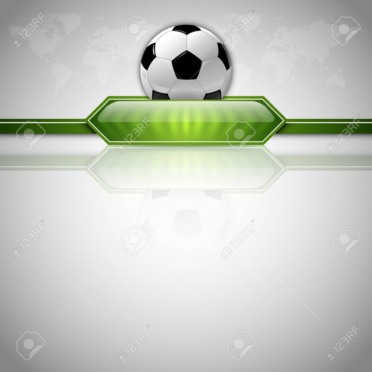 674f7a20f Soccer symbol. Football with green button for score information. Gray  background with world symbol