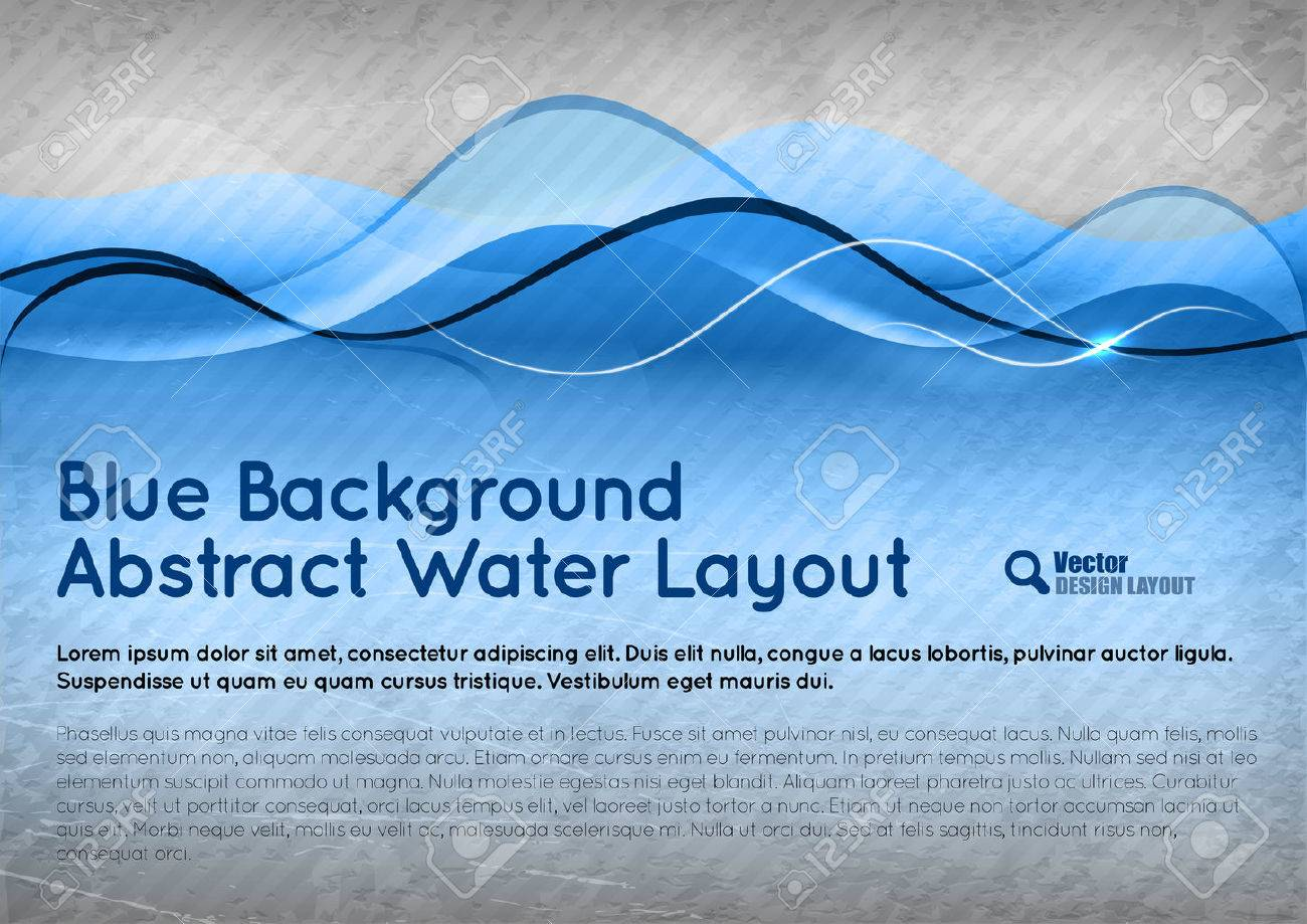 Blue background. Vector abstract water layout. - 28601114