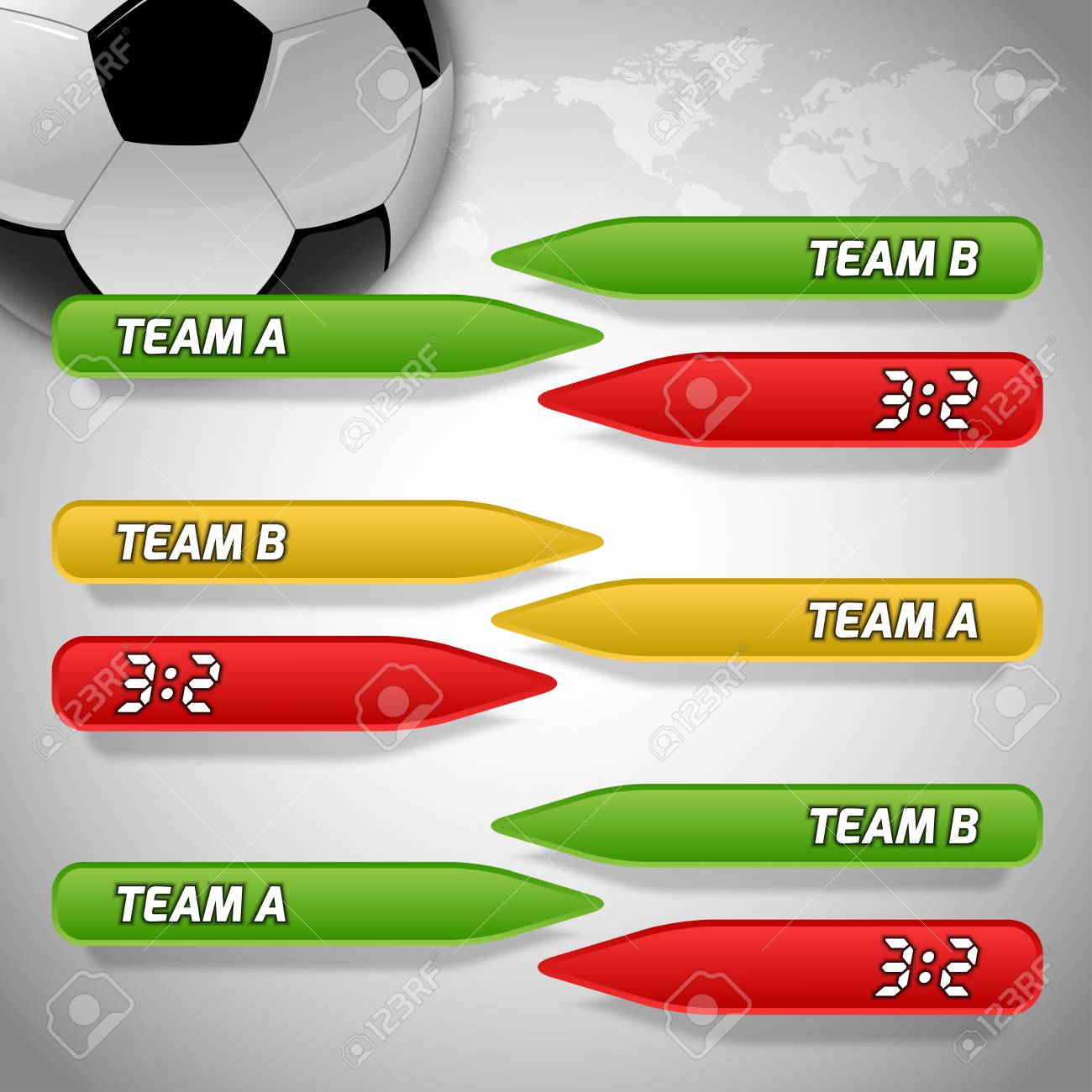 00788f4e1 Soccer symbol Football with buttons for score information Gray background  with world symbol Stock Vector -