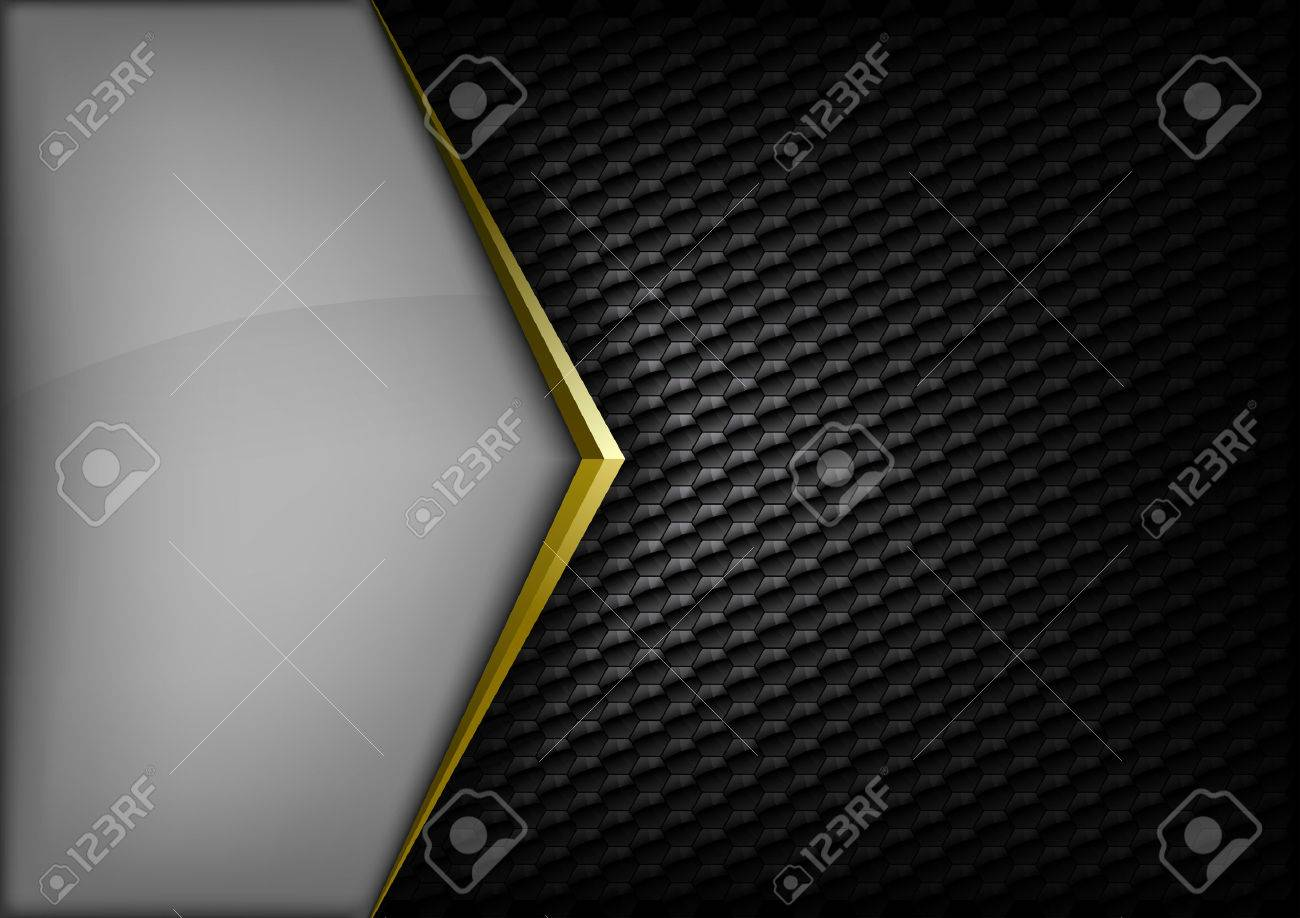 Modern elegant layout. Gold arrow between gray and black spaces. Version without sample text. You can find version with sample text in my gallery. - 36947873