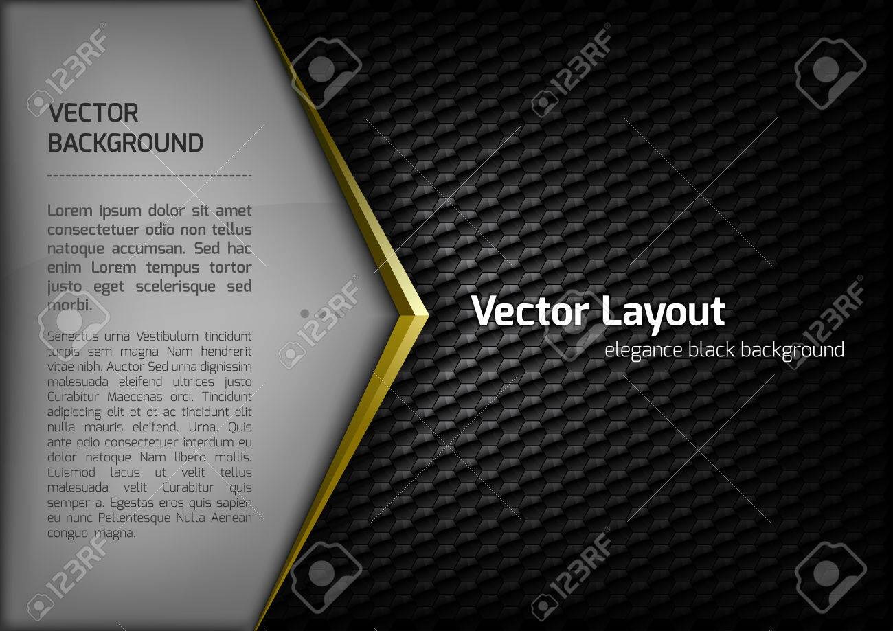Modern elegant layout. Gold arrow between gray and black spaces. Version with sample text. You can find version without sample text in my gallery. - 36947874