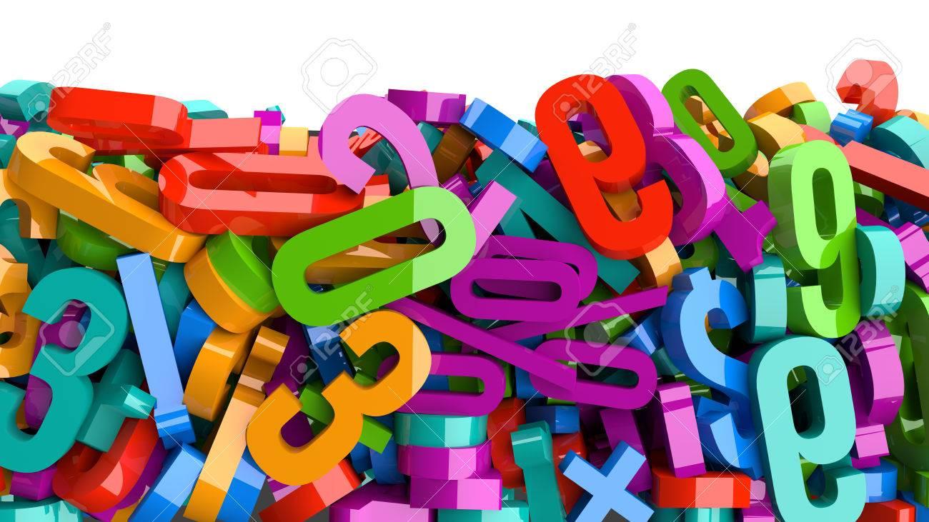 Foto de archivo - Una gran cantidad de números de colores de plástico. f54aff2cdd3e