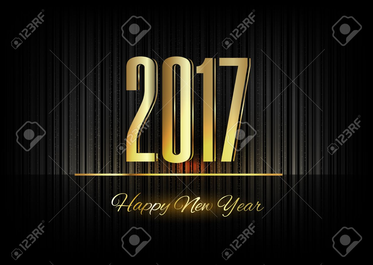 New Year 2017. Gold numbers on the black background - 43508847