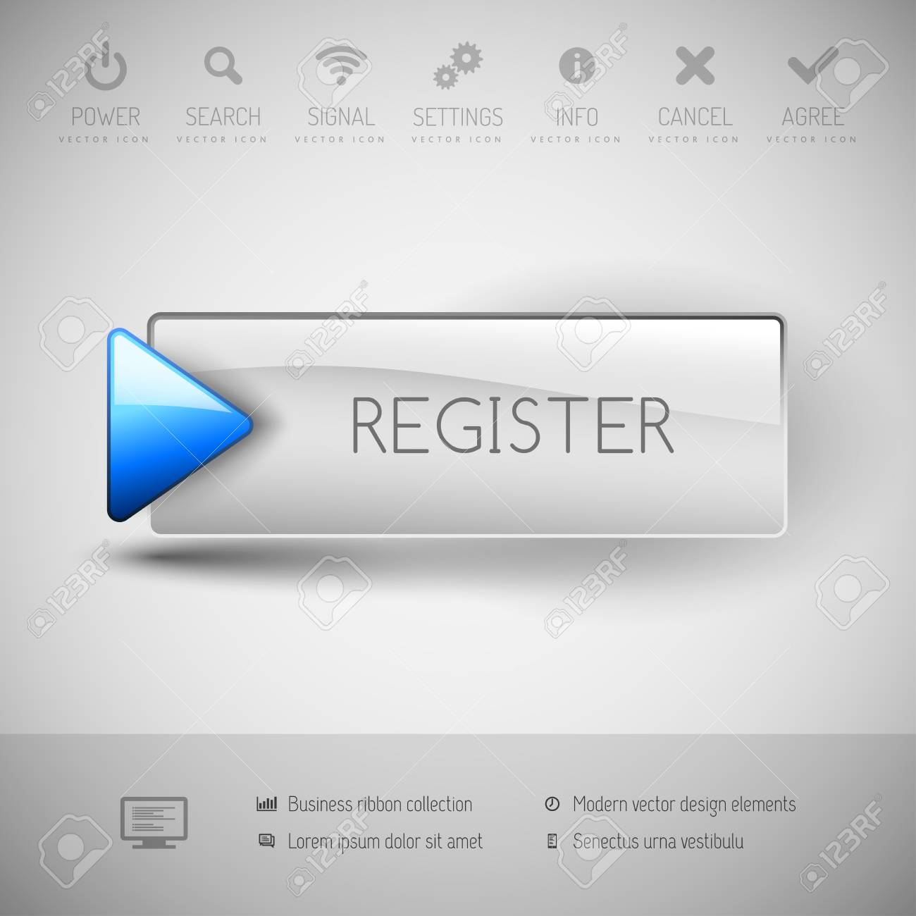 Register Button With Icons And Symbols. Modern Design Elements ...