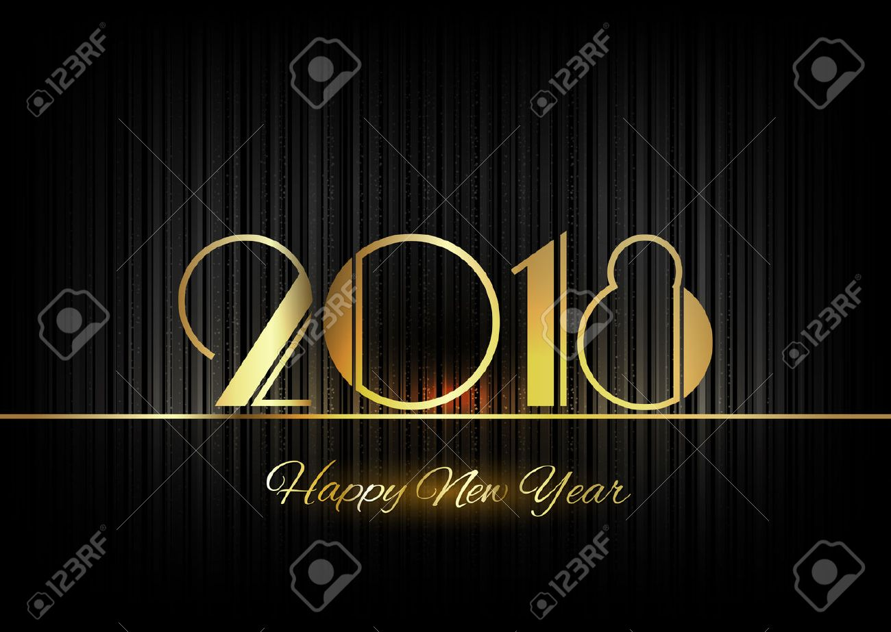 New Year 2018. Gold numbers on the black background. Luxury design elements. - 43772434