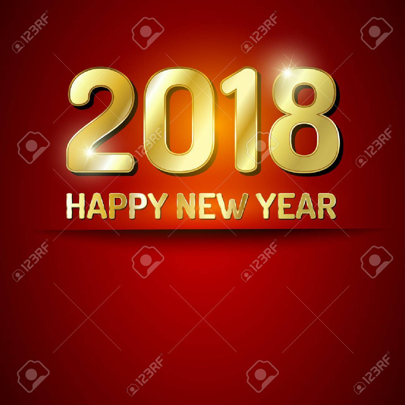 Red and gold greeting card for New Year 2018. - 44059046