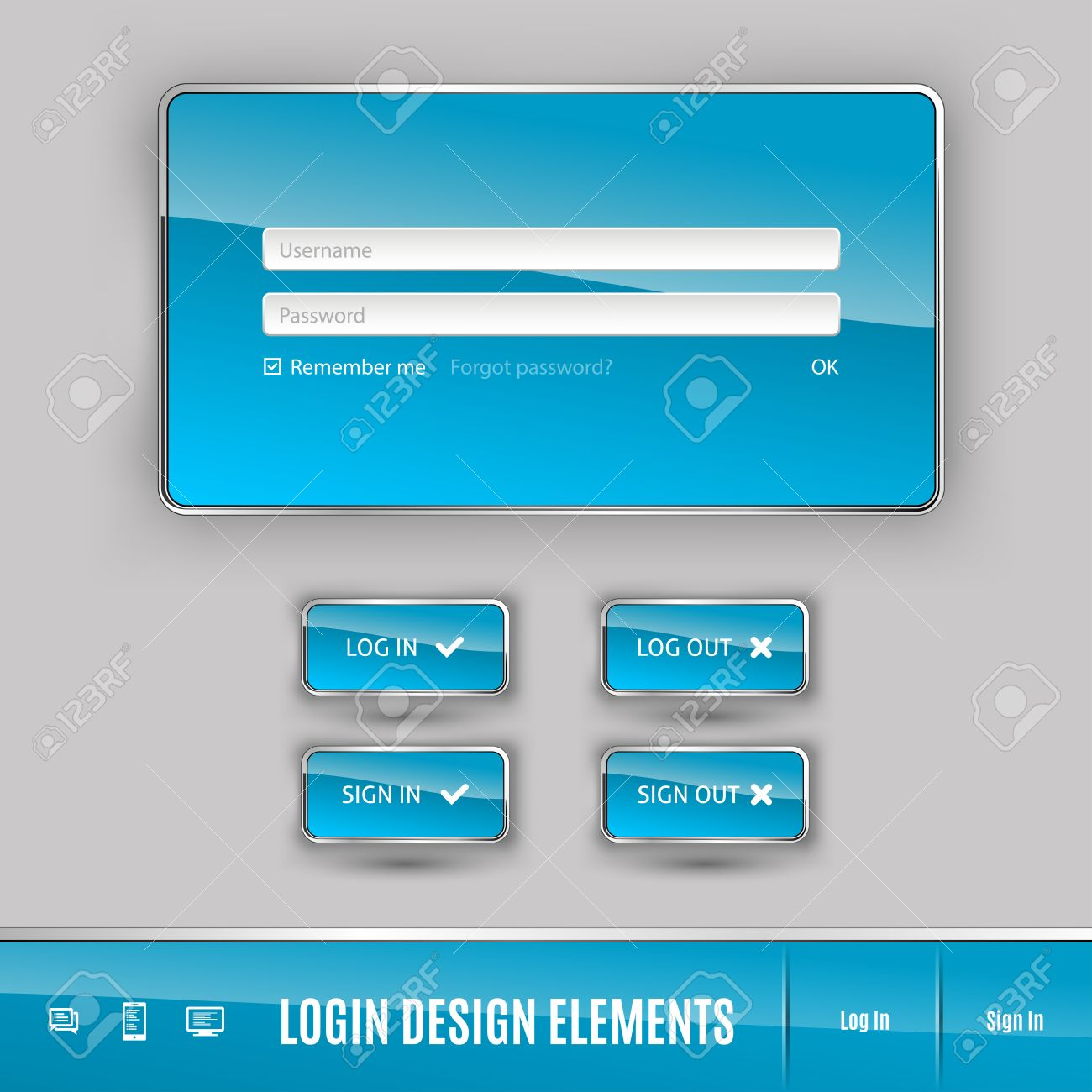 123Rf Password set of member login template with buttons. username and password