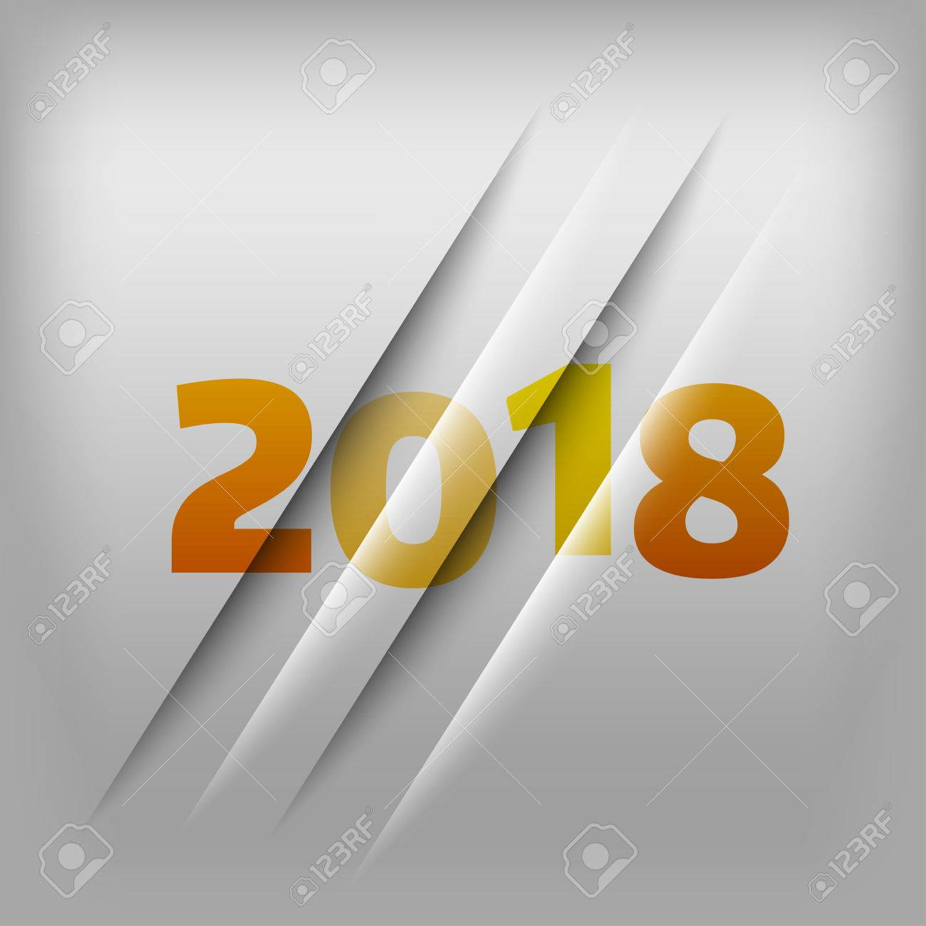 Simple gray background with orange numbers 2018. New Year Design. - 46377406