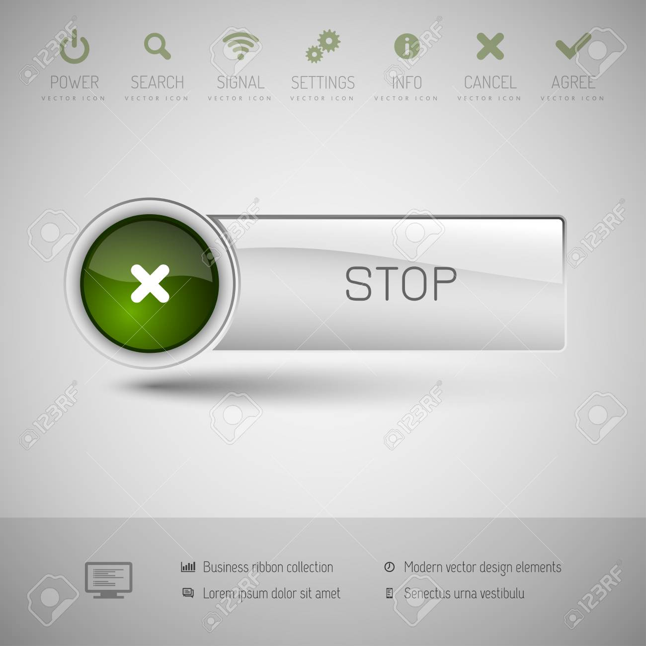 Gray Vector Button With Green Area For Icons And Symbols. Modern ...