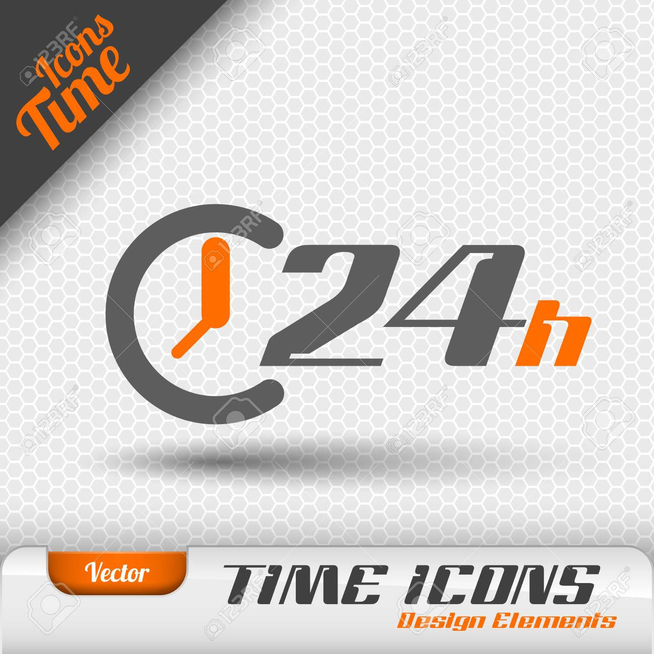 Time icon on the gray background. 24 hours symbol. Vector design elements. - 48754234
