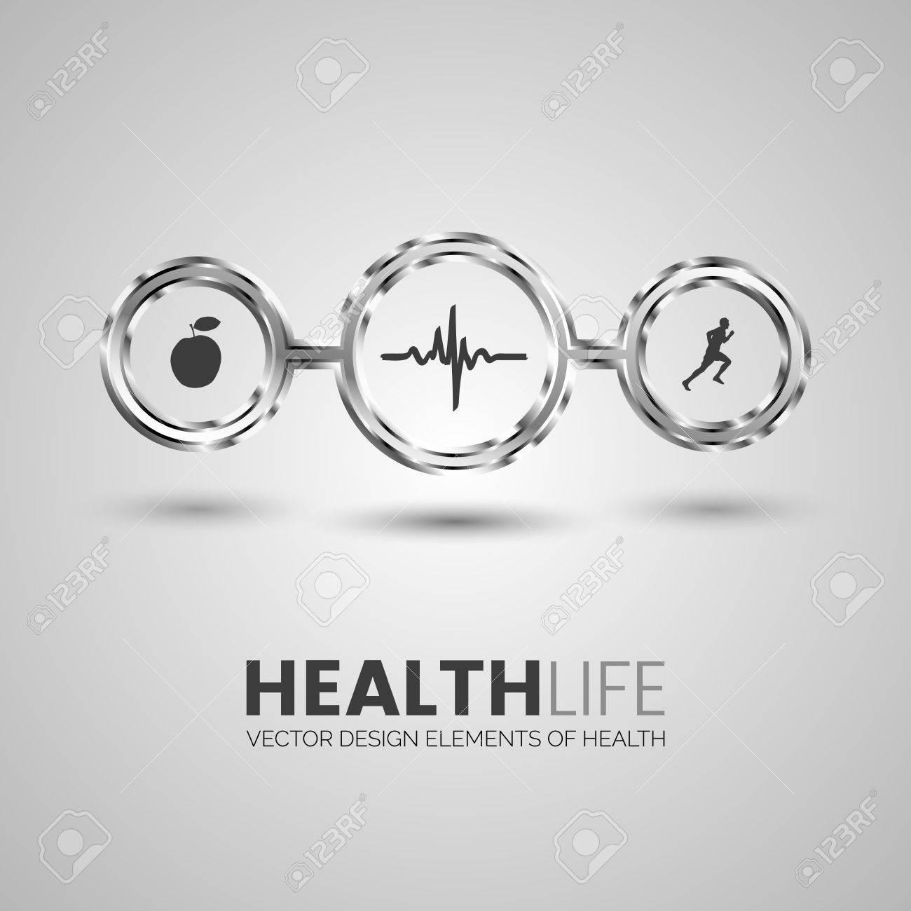 Three Health Symbols In The Chrome Circles Apple Cardiogram