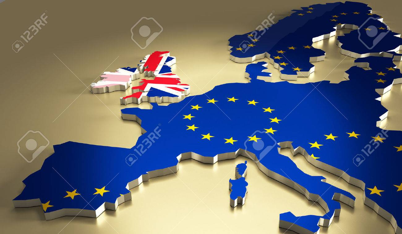 Map of europe with the national flag colours. Brexit referendum UK - United Kingdom, Great Britain or England leaving EU - European Union, British vote to exit. - 59916430