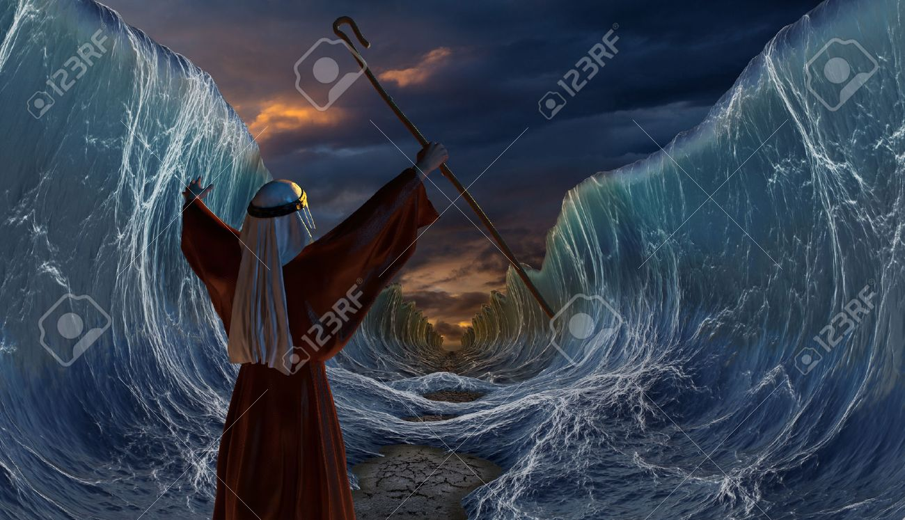 Moses Exodus Route. Crossing the red sea. Part of biblical narrative - escape Israelites. Big waves as open ocean under the dramatic sky. 3D render illustration. - 74998522