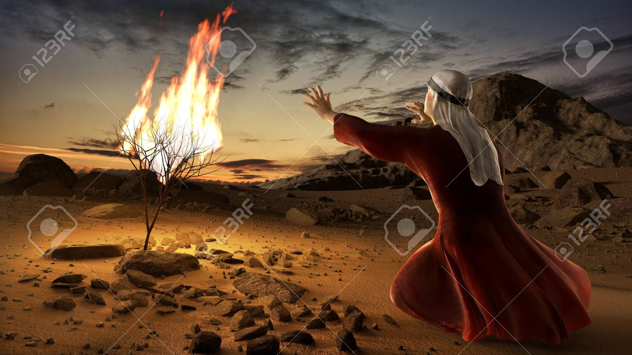 Moses and the burning bush. Story of book of exodus in bible. The shrub was on fire, but was not consumed by the flames. - 98199493